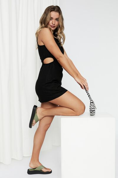 Mila Cutout Mini Dress, BLACK