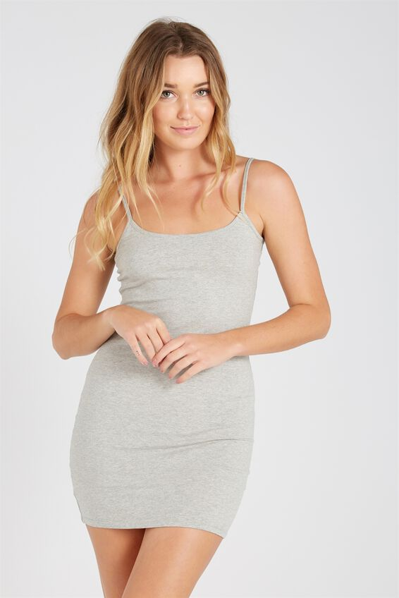 Basic Thin Strap Cami Dress, GREY MARLE