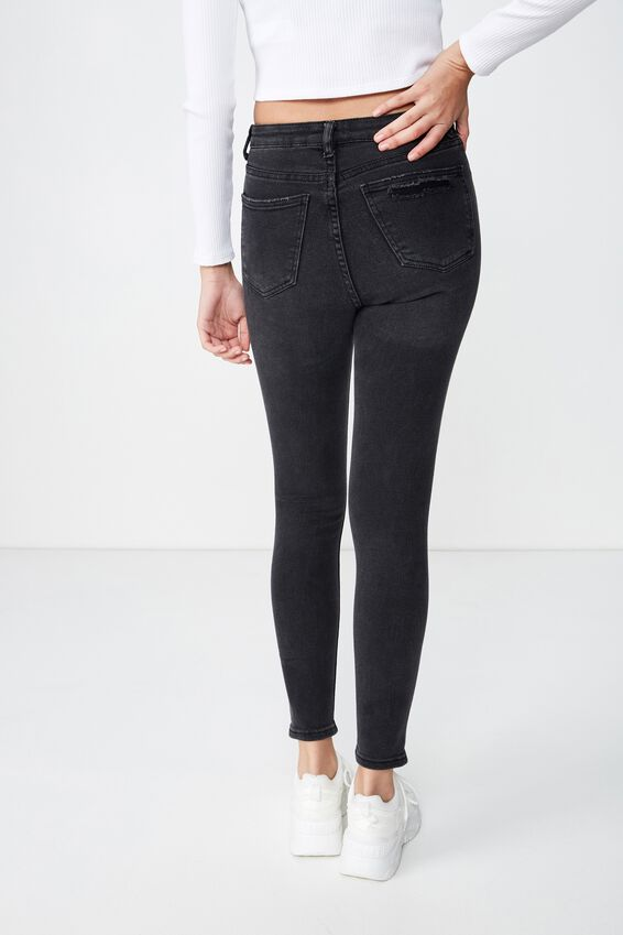 Skinny Premium High Rise Ripped Jean, WASHED BLACK