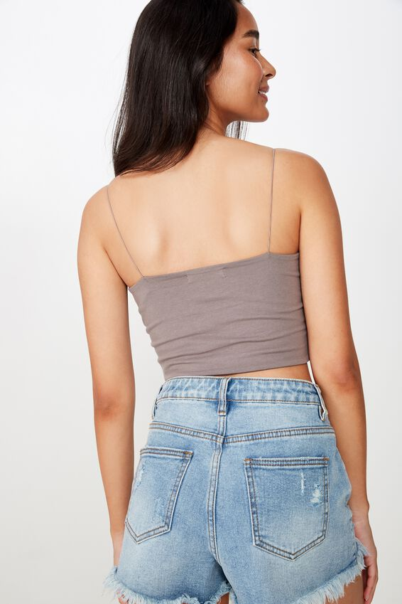 Sara Thin Strap Crop, CEMENT GREY