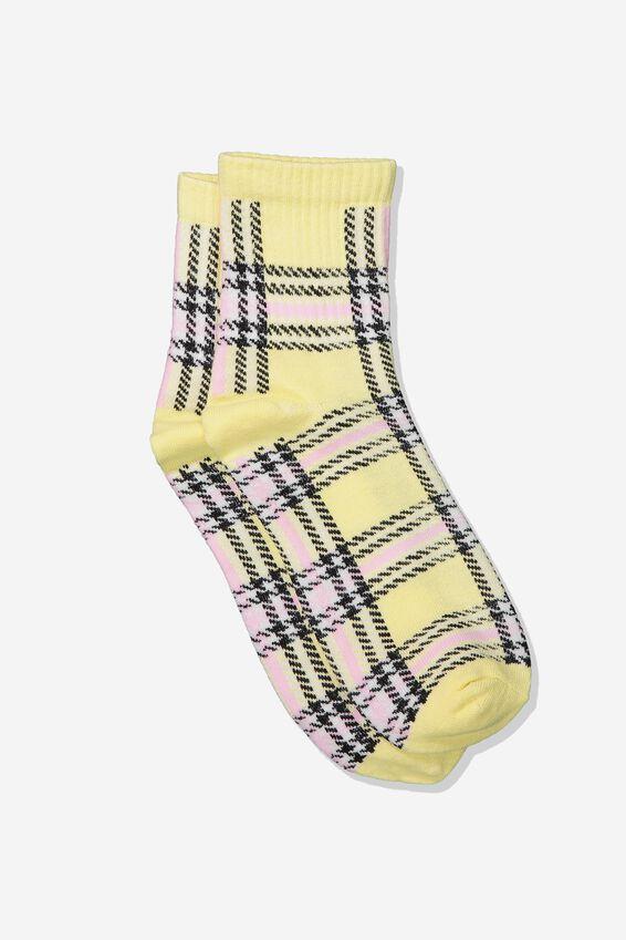 Check Socks, 90S YELLOW