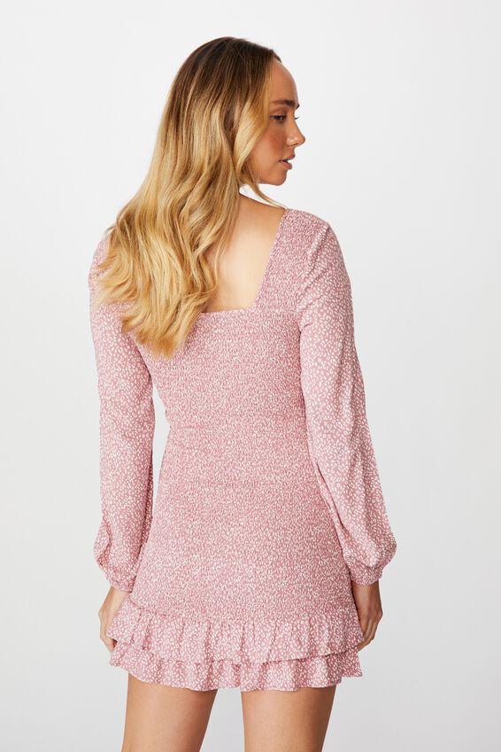 Isla Frill Hem Shirred Dress, MINI GIGI LEOPARD PINK