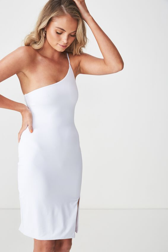 Party One Shoulder Mini Dress, WHITE