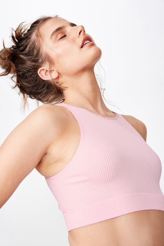 Brooke Seam Free High Neck Top, SURFERS PINK