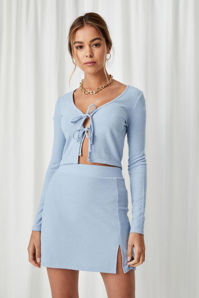 Willa Rib Mini Skirt Co Ord, LEISURE BLUE