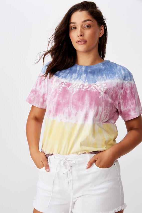 Kendall Printed T Shirt, GRADIENT TIE DYE DEF LEPARD