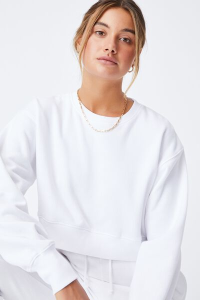 Louisa Cropped Jumper, WHITE