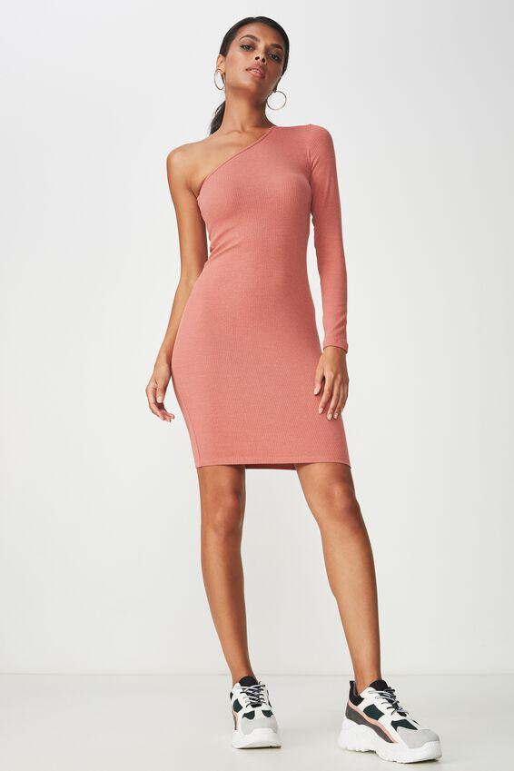 One Shoulder Rib Dress, TERRACOTTA