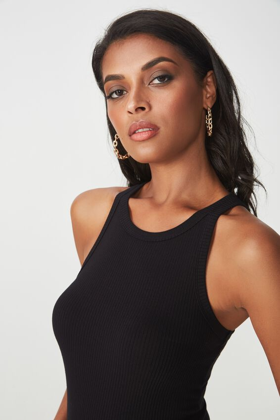 Leah Singlet Top, BLACK