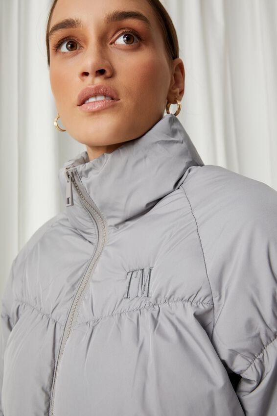 Personalised Puffer Jacket, PEARL GREY