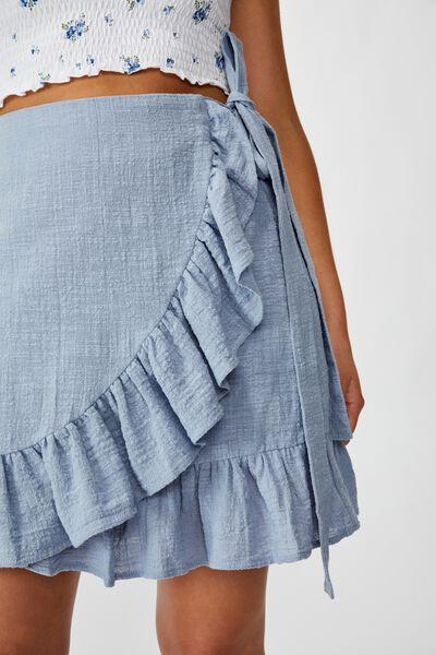 Georgie Frill Wrap Mini Skirt, BLUE RIDER