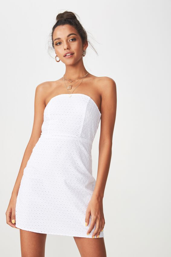 Broderie Strapless Mini Dress, WHITE