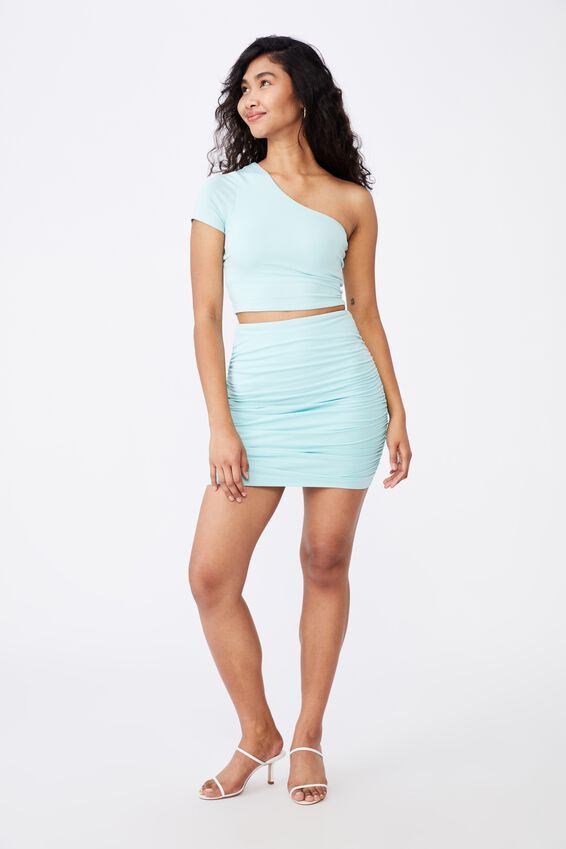 Belle Gathered Mini Skirt Co Ord, REEF BLUE