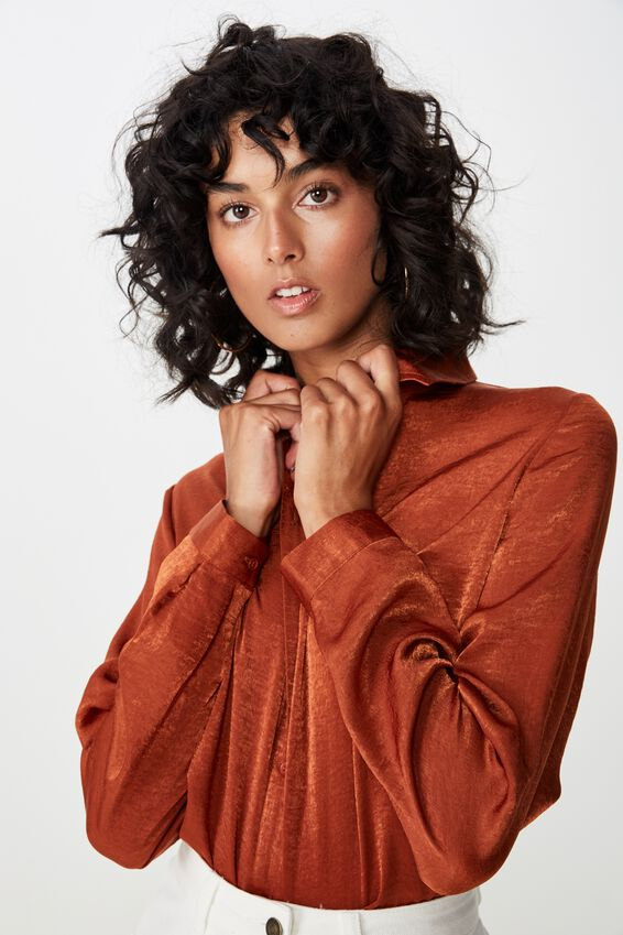 Cindy Oversized Satin Shirt, NUTMEG