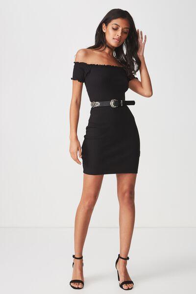 Rib Off The Shoulder Mini Dress, BLACK