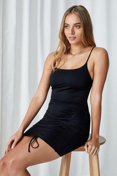 Tillie Ruched Mini Dress, BLACK