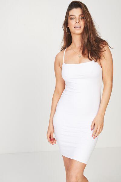 Square Neck Mini Dress, WHITE