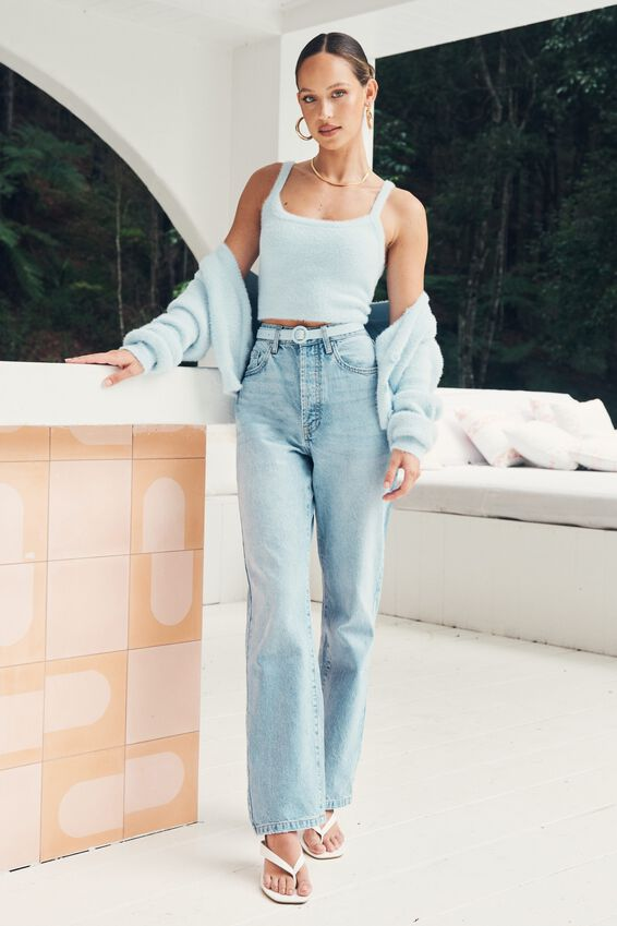 High Rise Straight Jean, DOLPHIN BLUE