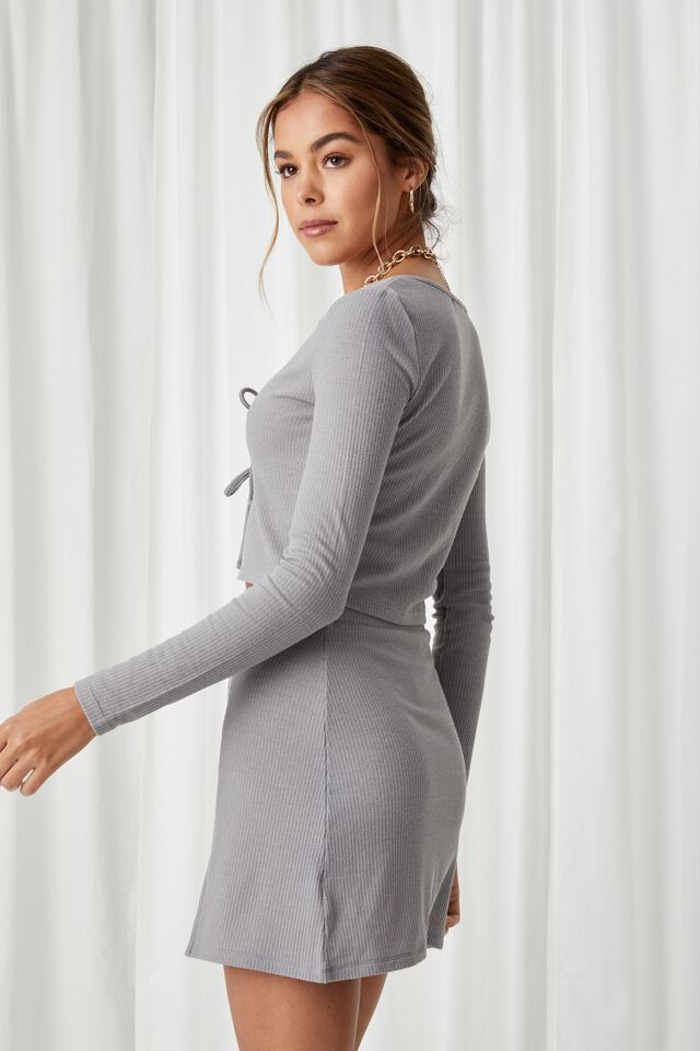 April Tie Front Top Co Ord, PEARL GREY