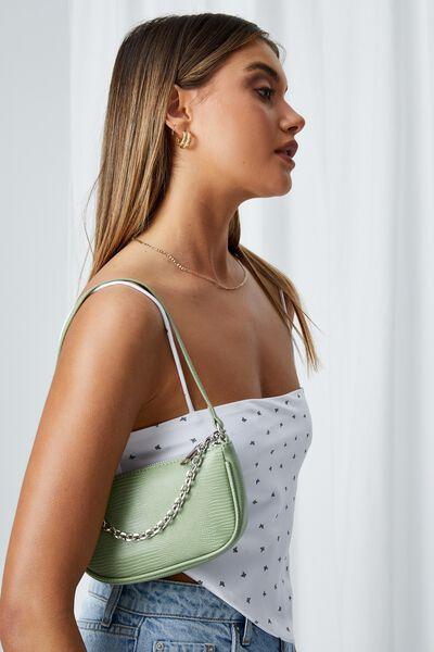 Abbey Chain Textured Shoulder Bag, SEASPRAY LIZARD