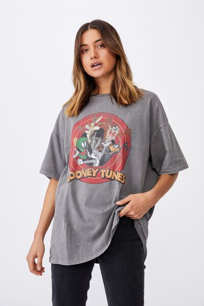 Carter Oversized T Shirt, VINTAGE WASH CEMENT GREY/LCN WB LOONEY TUNES