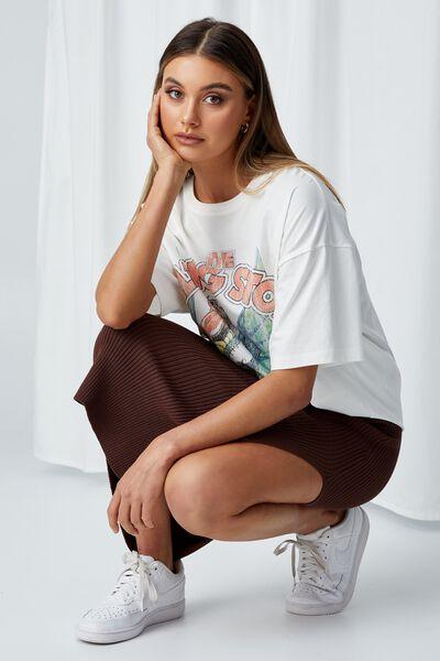 Candace Oversized Printed T Shirt, WINTER WHITE/LCN BRA RS DRAGON