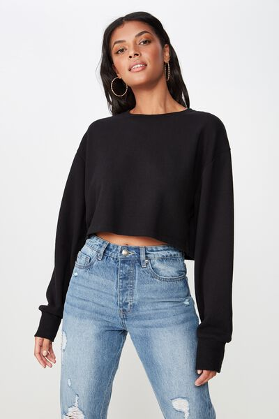 Kayla Long Sleeve Crop Sweat, BLACK