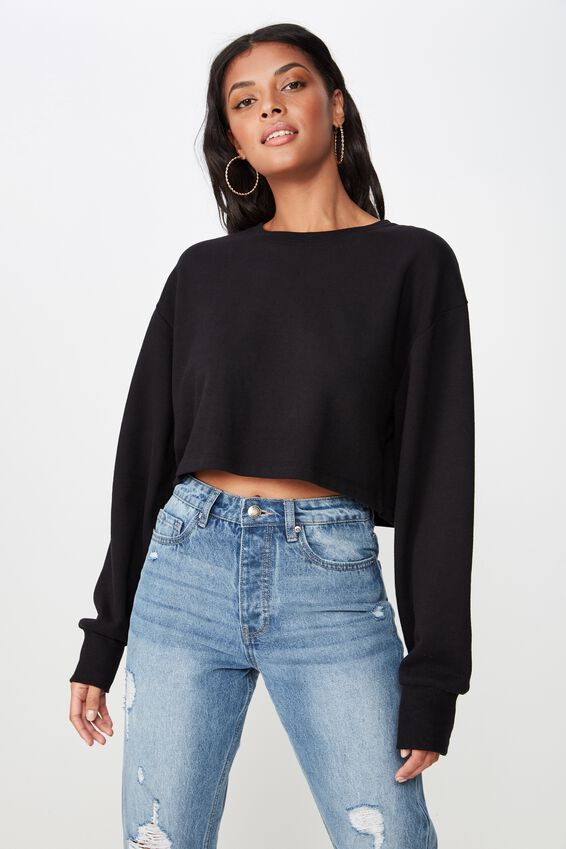 Kayla Long Sleeve Crop Sweat, BLACK