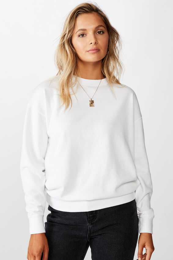Crew Neck Jumper, WHITE