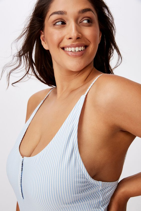 Shelly Snap Button One Piece, COLLEGIATE STRIPE BLUE SEERSUCKER