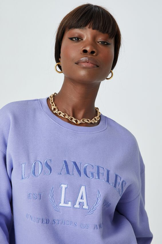 Tonya Oversized Crew Jumper, BLUE VIOLET/LOS ANGELES