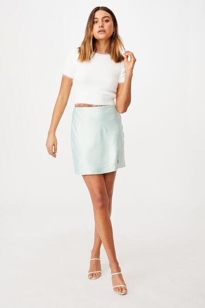 Lizzie Split Mini Skirt, MINTY GREEN