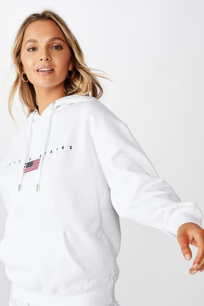 Sage Graphic Hooded Sweat, WHITE/UNITED STATES FLAG