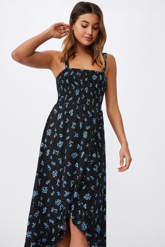 Allegra Maxi Wrap Dress, HOLLY FLORAL BLACK