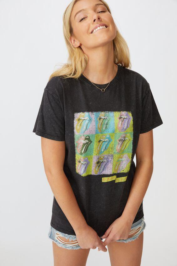 Kendall Printed T Shirt, WASHED BLACK LCN BR GRID ROLLING STONES