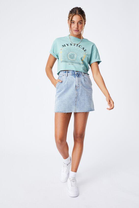 Tamara Printed Crop T Shirt, VINTAGE WASH CHALKY TEAL/MYSTICAL