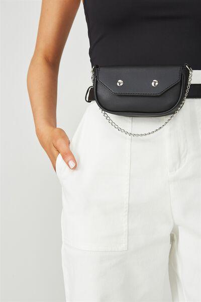 Mini Chain Purse Belt Bag, BLACK/SILVER