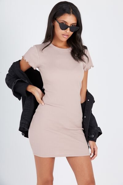 Rib Bodycon T-Shirt Dress, STONE