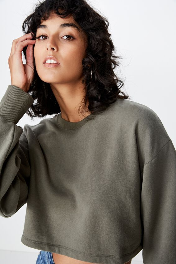 Kayla Long Sleeve Crop Sweat, GUM LEAF KHAKI