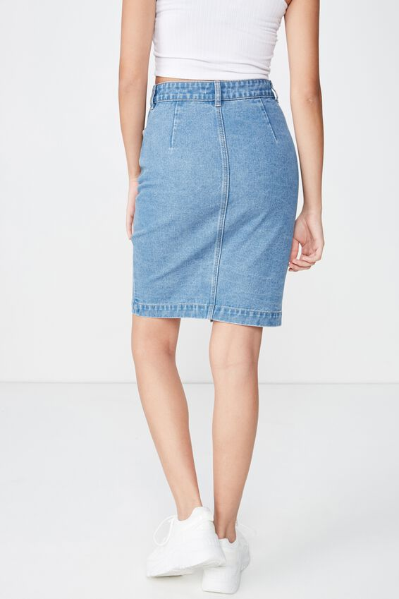 Courtney Button Denim Midi Skirt, RIVER BLUE