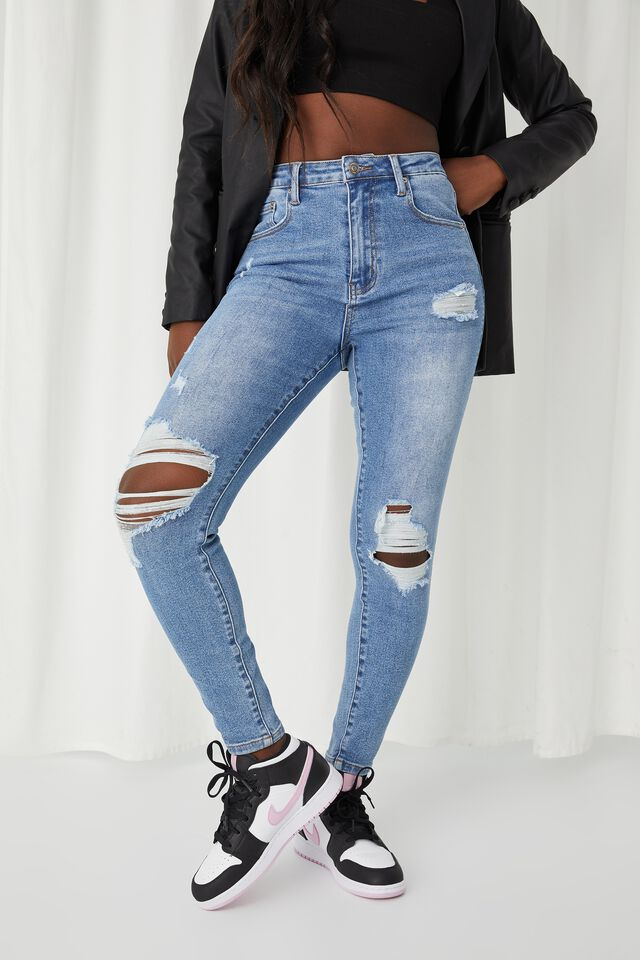 Skinny Premium Ripped Jean, LAKE BLUE RIPPED