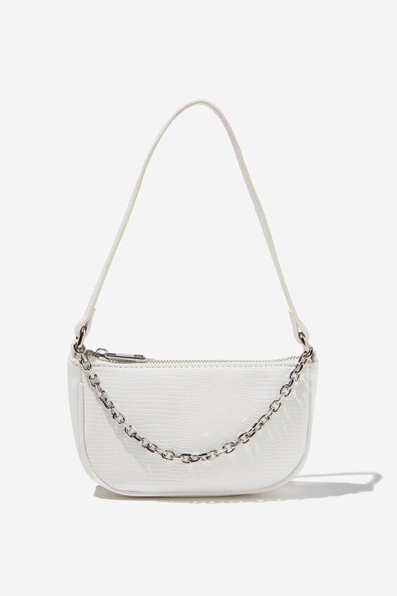 Abbey Chain Textured Shoulder Bag, WHITE LIZARD