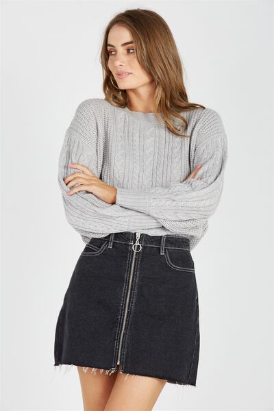 Ivy Bell Sleeve Knit Jumper, GREY MARLE