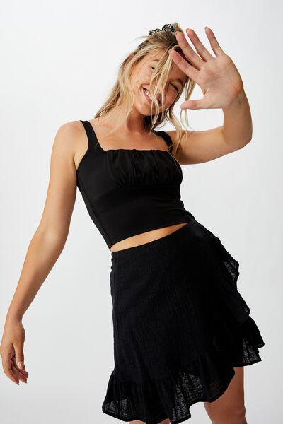 Georgie Frill Wrap Mini Skirt, BLACK