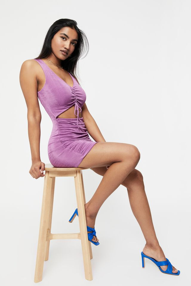 Ellie Ruched Front Mini Dress, SPARKLING GRAPE