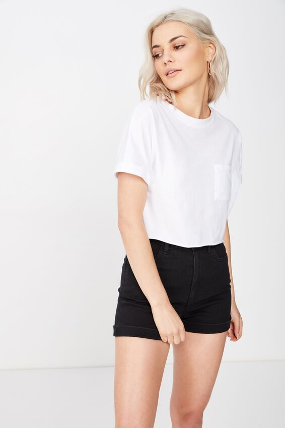 The Sky High Cuffed Short, BLACK