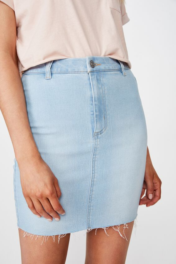 Chloe Stretch Denim Mini Skirt, BLEACH/RAW