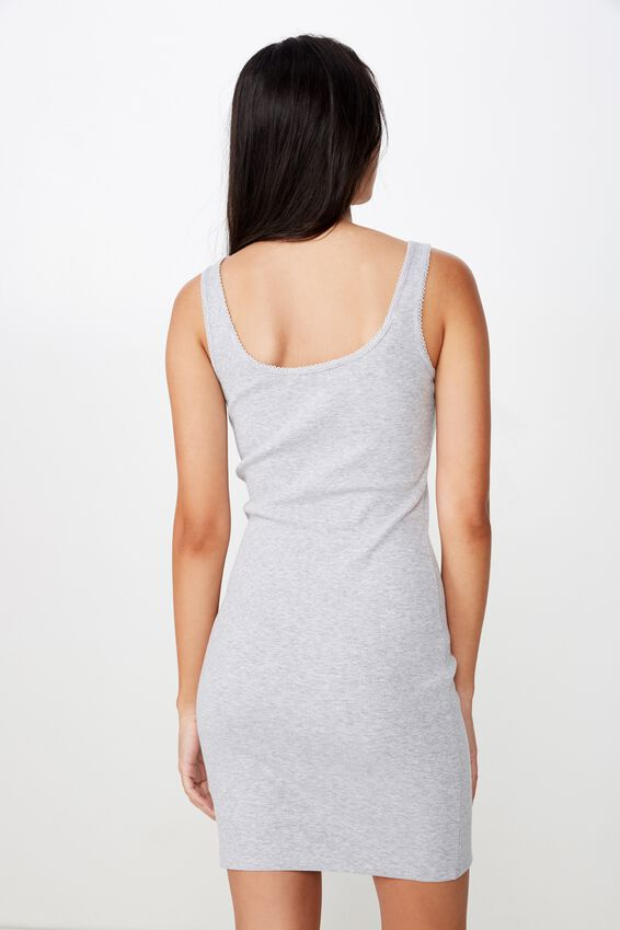 Helly Trim Mini Dress, GREY MARLE