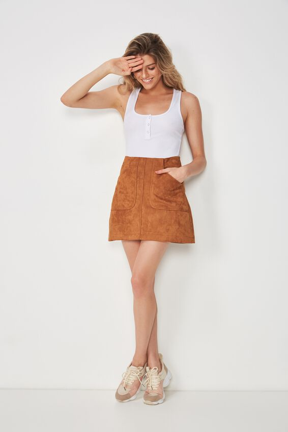 Faux Suede Patch Pocket Skirt, TAN