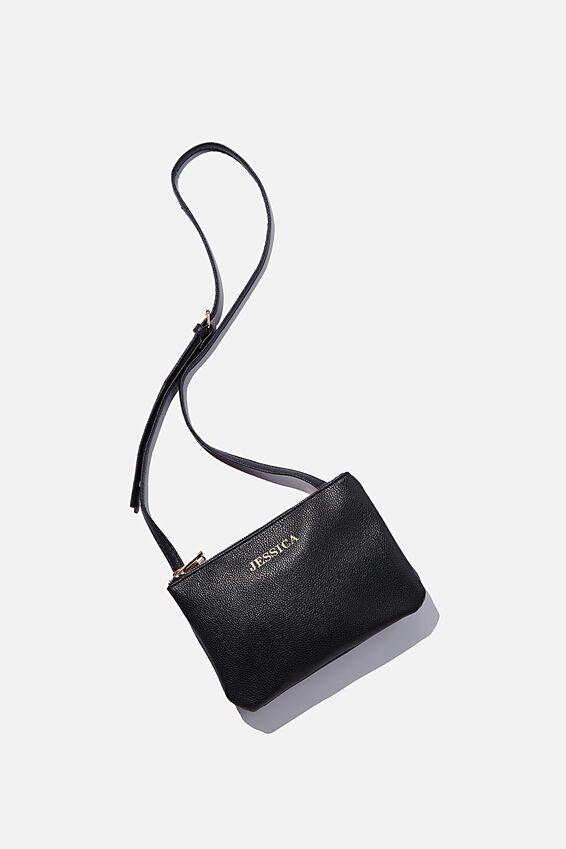 Personalised Eliza Double Zip Bag, BLACK PEBBLE